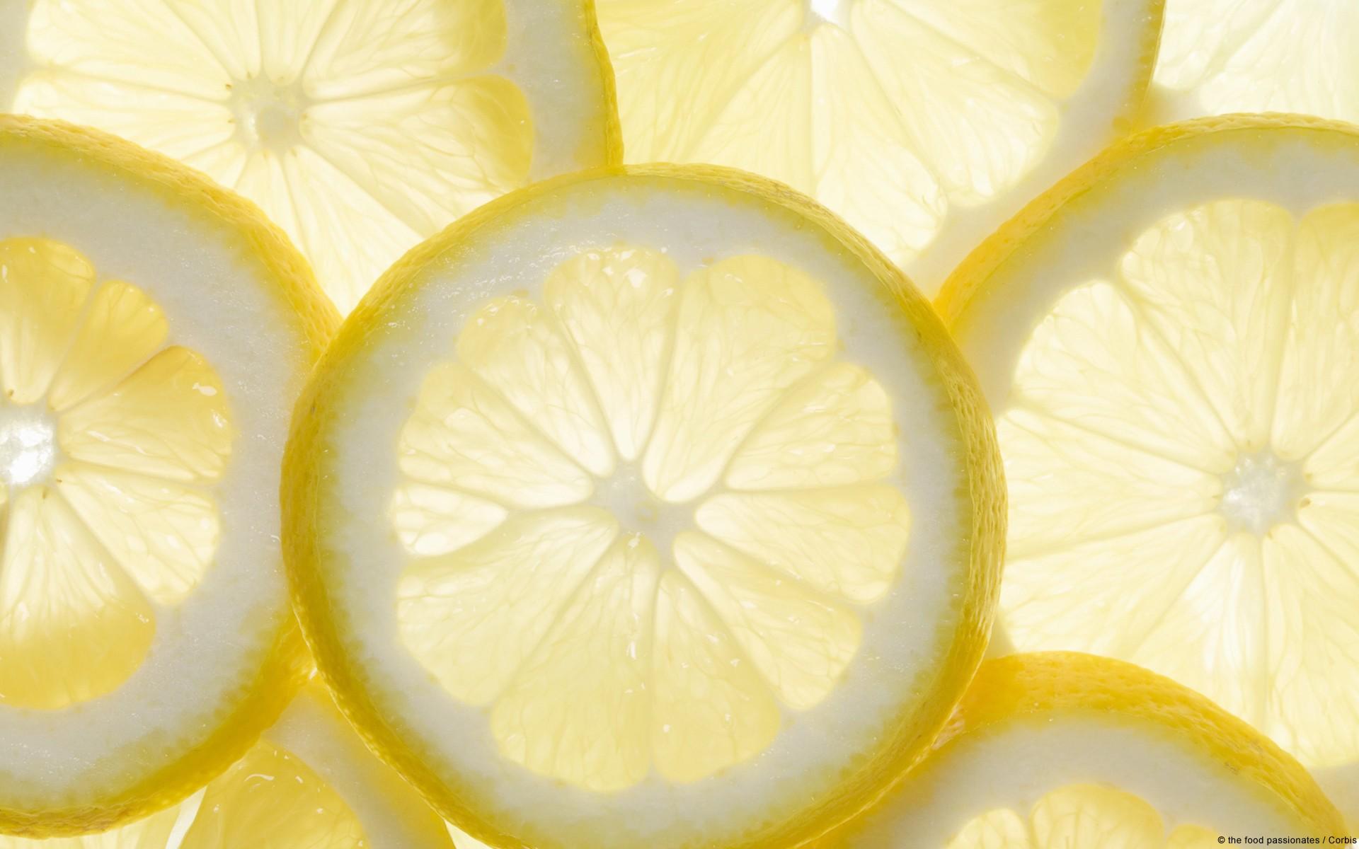 Several lemon slices, backlit
